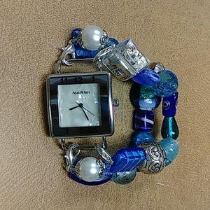 Narmi Watch Bracelet Silver-Tone Blue Beads
